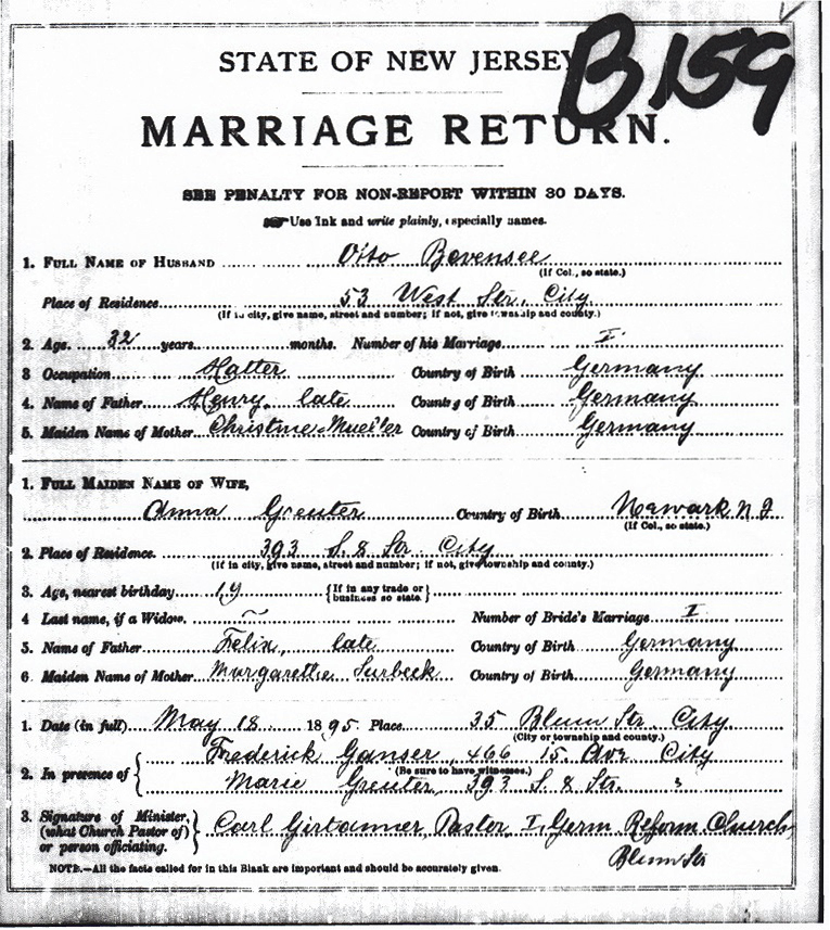 Anna Greuter and Otto Bevensee Marriage Certificate