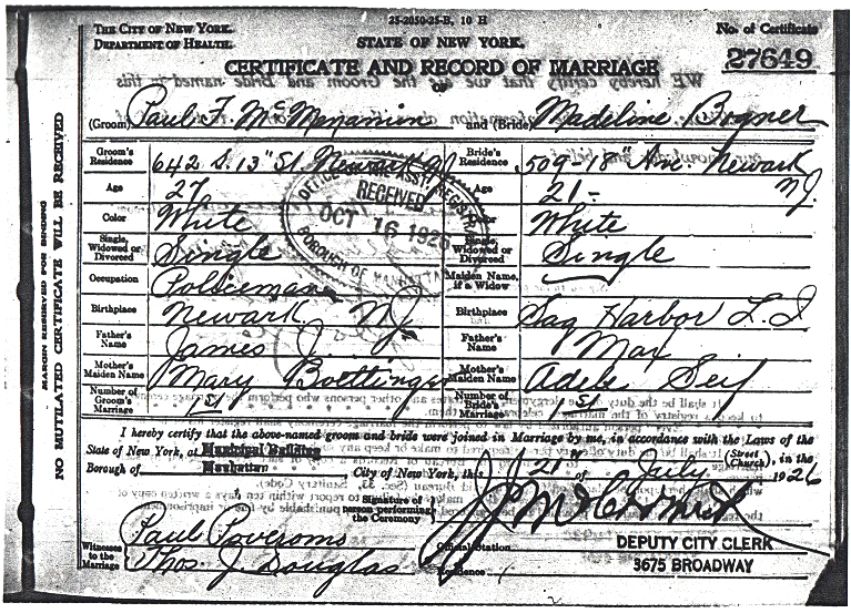 Paul McMenamin and Madeline Bogner Marriage certificate Page 1