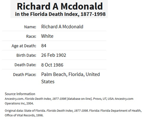 Richard A. McDonald Death Index