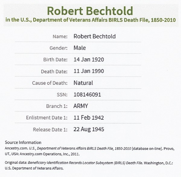Robert E. Bechtold's Veterans Affairs Death File