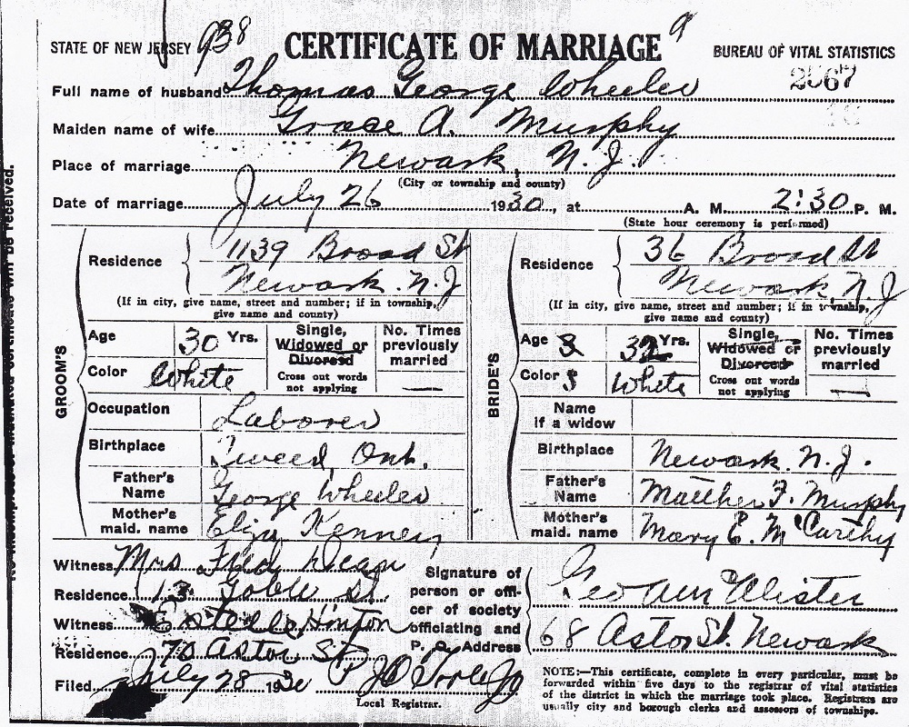 Grace Murphy and Thomas Wheeler Marriage Certificate