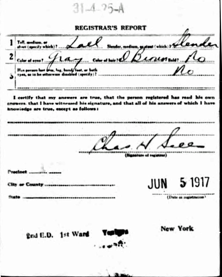 William L. Bechtold's World War I Draft Registration Card Part 2
