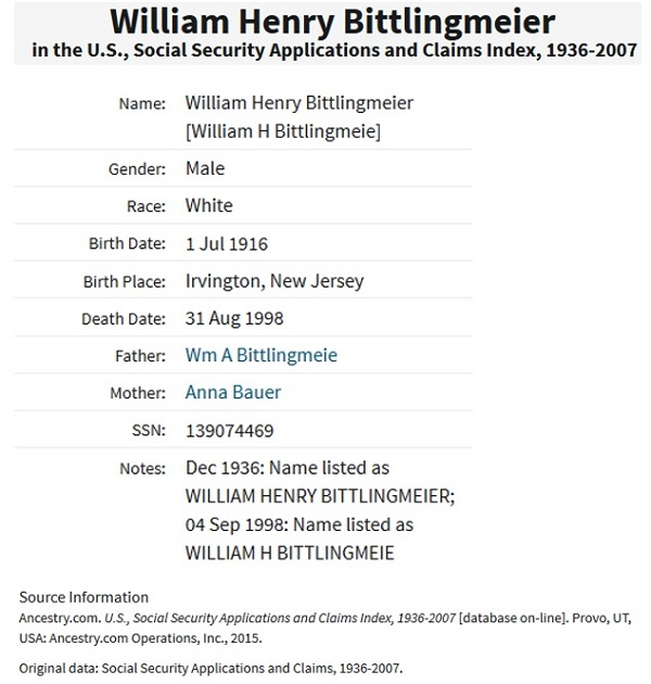 William Henry Bittlingmeier SSACI