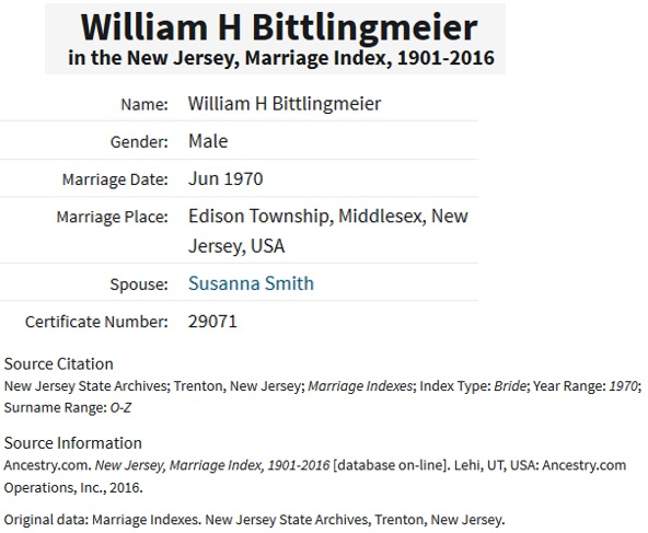 Marriage Record for William H. Bittlingmeier and Susanna Smith