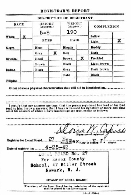 William Vierling's World War II Draft Registration Card Part 2