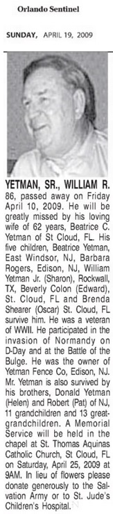 William R. Yetman's Obituary